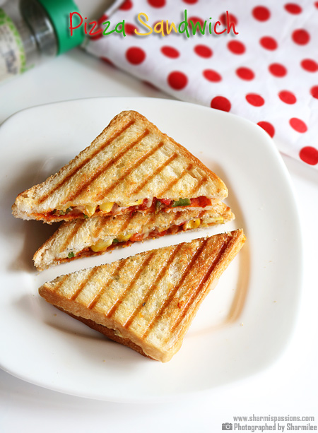 Pizza Sandwich Recipe Grilled Pizza Sandwich Sharmis Passions